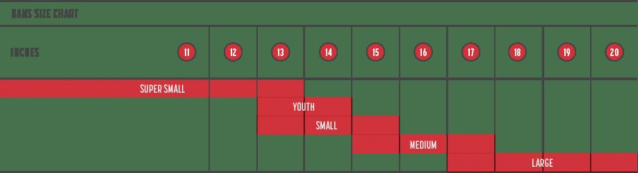 Simpson HANS sizing chart