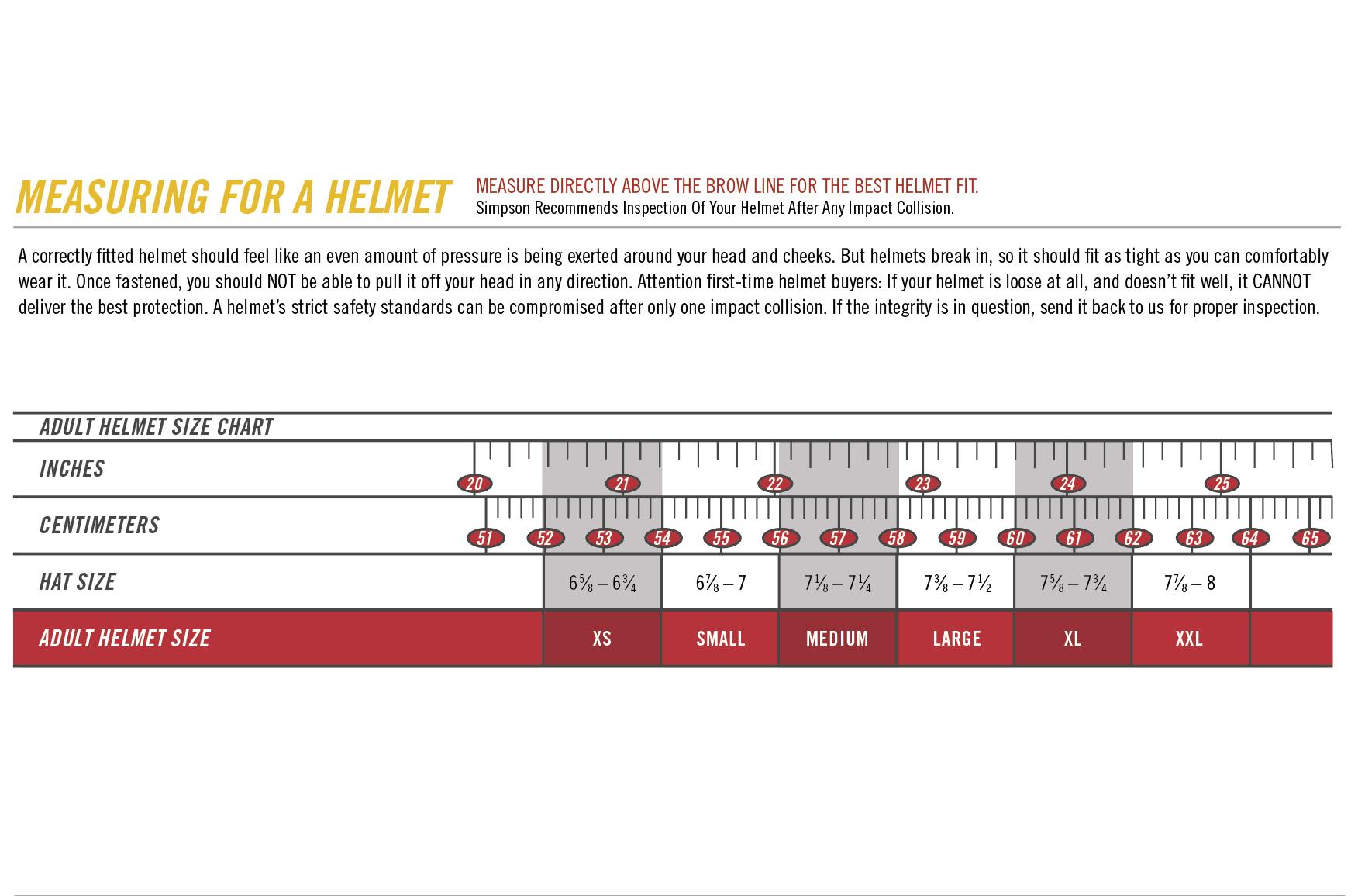 Helmet sizing chart